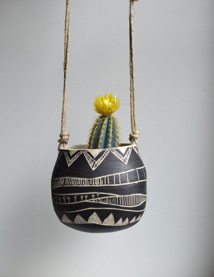 T R I B A L  ceramic hanging planter by mbundy on Etsy