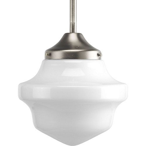 Nostalgic without the novelty, this pendant follows in the tradition of a schoolhouse-style light fixture, which, despite the name, has never been limited to the classroom. Opal glass diffuser delivers bright illumination and provides and easy-to-clean smooth surface. Stem-type hanging system provides several options for installation height and includes 6 in. of chain for installation on sloped ceilings.