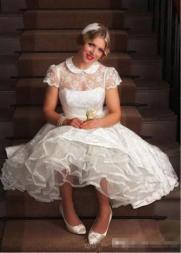 Halflange Bruidsjurken.50s Vintage Short Lace Organza Wedding Dress White Ivory Tea Length