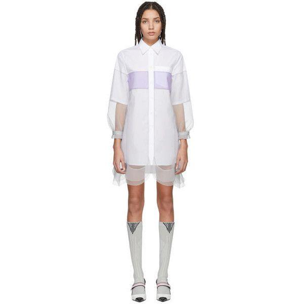 Prada White and Grey Chiffon Shirt Dress ($1,230) ❤ liked on Polyvore featuring dresses, white, grey chiffon dress, chiffon shirt dress, shirt dress, chiffon dress and white chiffon dresses