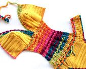 Articoli simili a Arcobaleno Crochet Monokini donne costumi da bagno costume da bagno uncinetto Bikini Boho Bikini Festival abbigliamento senape gialla Bohemian senoaccessory su Etsy