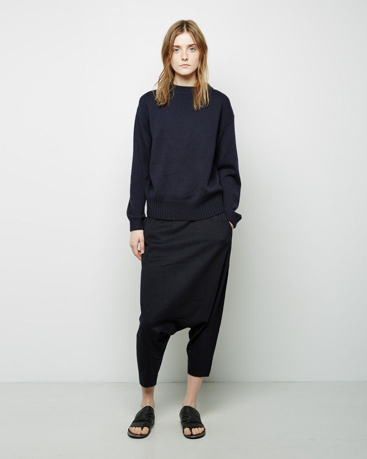 black sweater, drop crotch pants & slide sandals #style #fashion