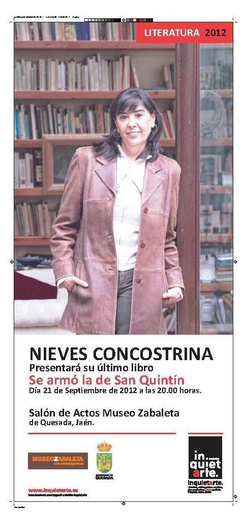 """Recordad que @NConcostrina presenta hoy 21 de sept. su libro """"Se armó la de San Quintín"""" en Quesada (Jaén). Más información sobre el evento, la autora y el lugar en el enlace del Museo donde se presenta."""