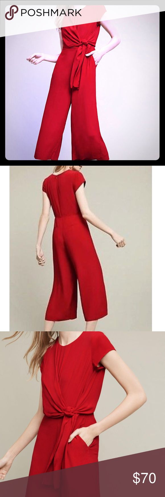 Stunning midi jumpsuit Maeve from Anthropologie midi jumpsuit is brand new in perfect condition. Rayon, back zipper, tie waist, side pockets. Reasonable offers only please, no trades. Anthropologie Dresses Midi