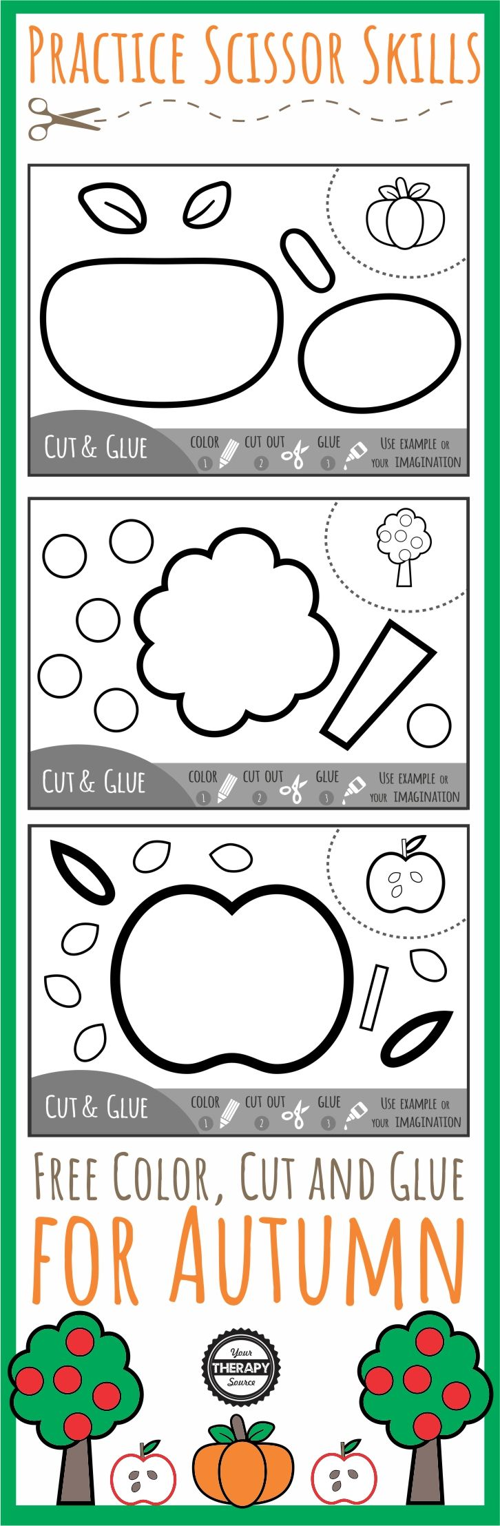 Color Cut Glue Scissor Practice for Fall - three FREE black and white printables to practice coloring, cutting and gluing with a Fall theme.