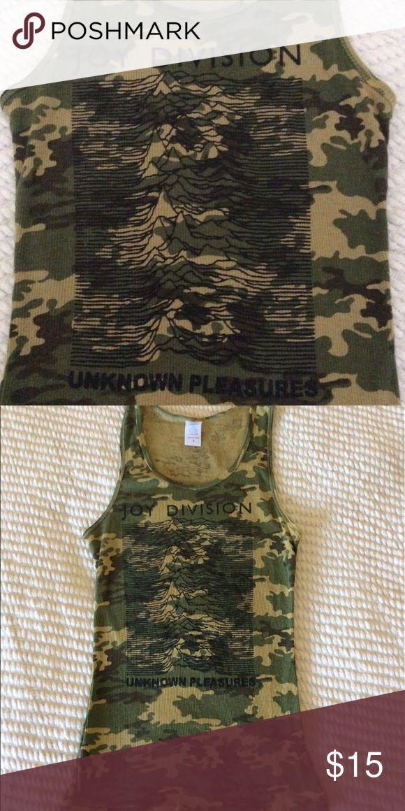 Joy Division Camouflage Tank Top Joy Division, Unknown Pleasures, camouflage tank top, Size Large, fits smaller, more like a smaller Medium size. EUC, worn only once, maybe twice. ACTIVE Tops Tank Tops