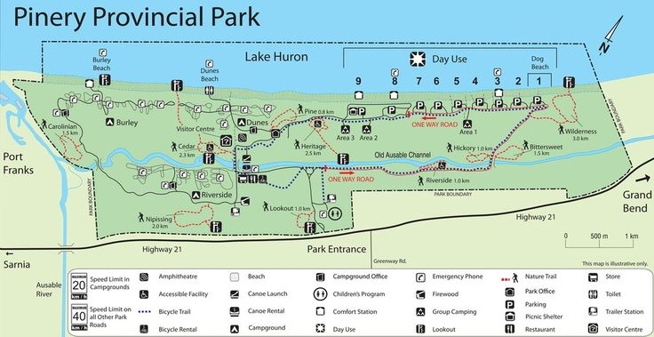 Pinery Provincial Park map including their 10 hiking trails.