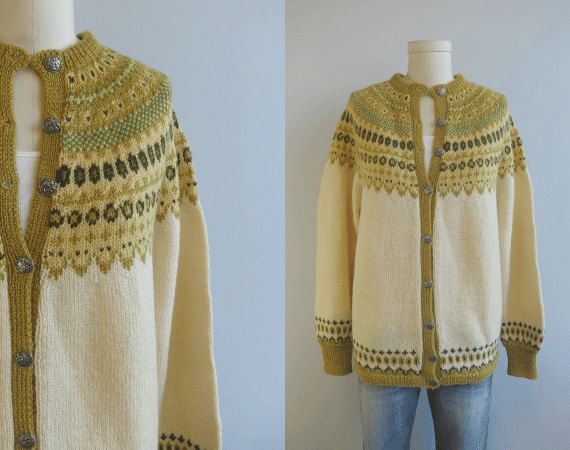 Label: Sundt, Handstrikket, Norge Vintage Nordic Wool Fair Isle Cardigan / Hand Knit Sweater Cream Yellow Gold Brown