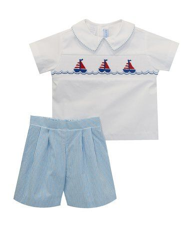 Love this Blue Nautical Smocked Top & Shorts - Infant, Toddler & Boys on #zulily! #zulilyfinds
