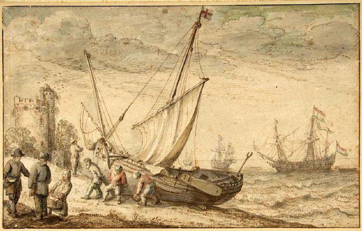 """Adam Willaerts (1577-1664). """"Vissers trekken hun boot op het strand met op de achtergrond Nederlandse oorlogsschepen, die de Nederlandse vissrsvloot beschermde tegen aanvallen van piraten en Spanjaarden"""". (Coll. The Metropolitan Museum of Art, New York)"""