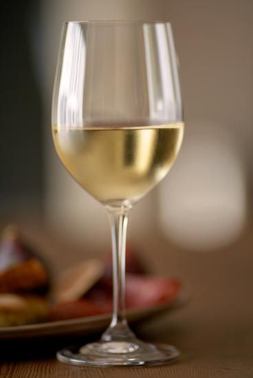 white wine in a wine glass on a wooden table