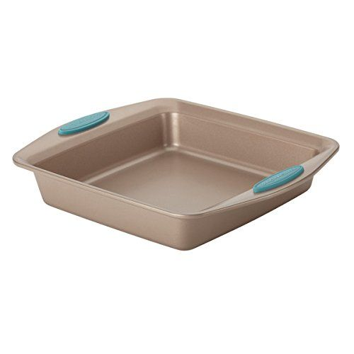 Best Kitchen Cart | Cucina Nonstick Bakeware Square Cake Pan 9Inch Latte Brown with Agave Blue Handles -- Click on the image for additional details. Note:It is Affiliate Link to Amazon.