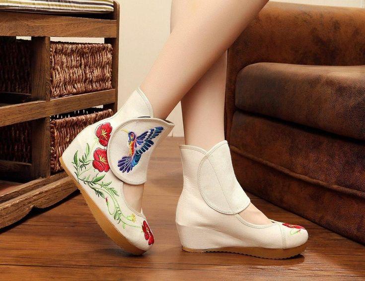 Chaussure en toile à motif floral pour femme