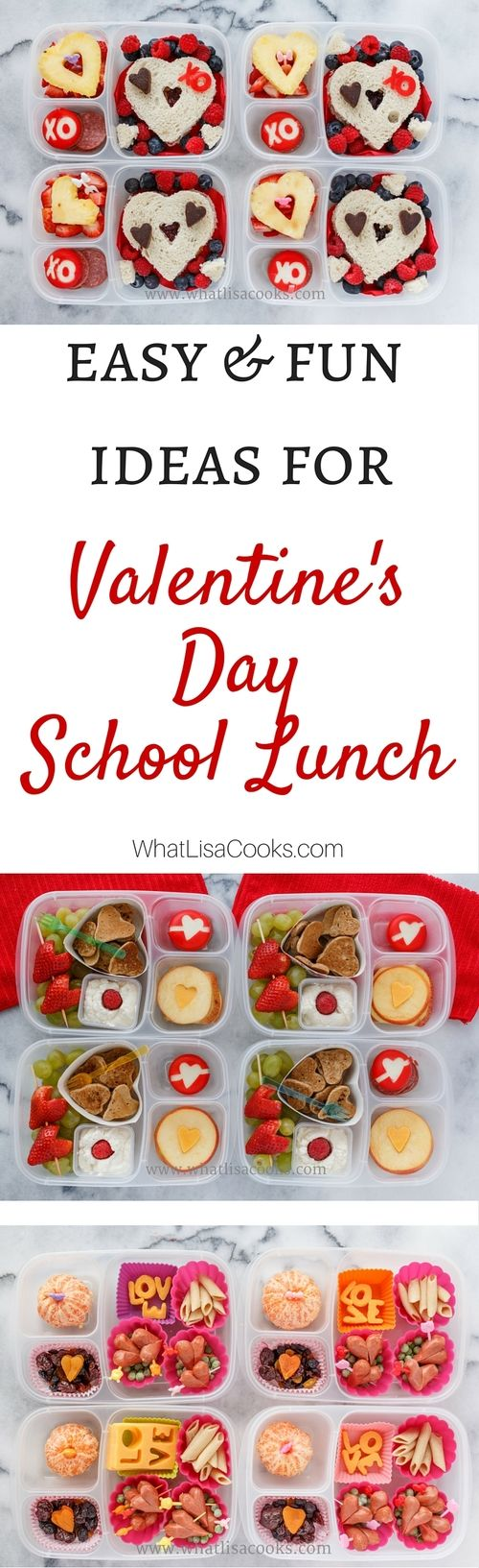 Thinking about trying some of these - easy ideas for making Valentine's Day themed school lunches for the kids. from WhatLisaCooks.com