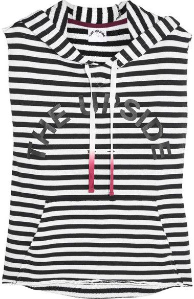 The Upside - Recovery Printed Striped Cotton-terry Hooded Top - Navy