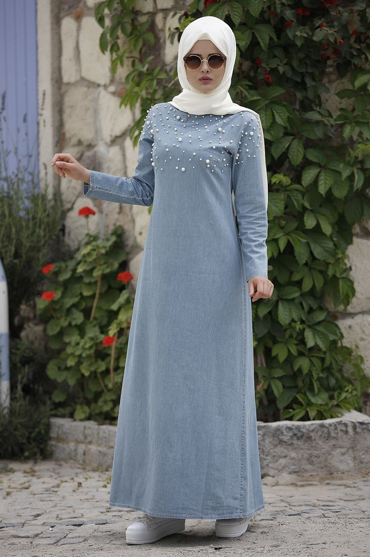 Piennar - İncili Kot Elbise - Açık Mavi