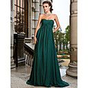 A-line Strapless Sweep/ Brush Train Chiffon Evening Dress - USD $ 129.99