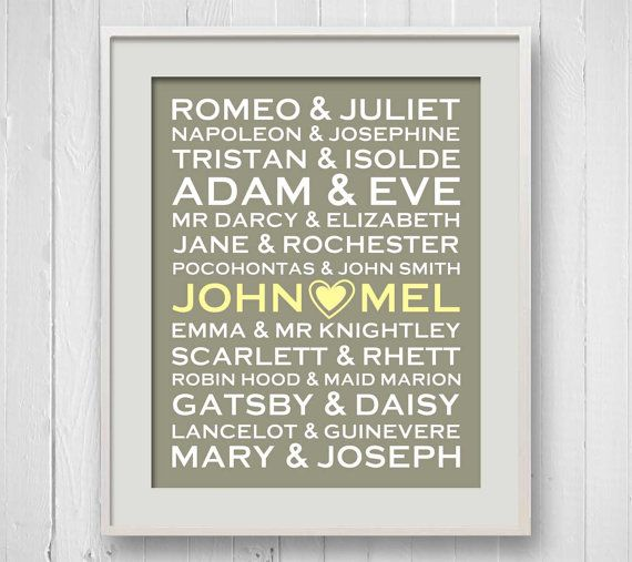 Wedding Gifts For Art Lovers : ... Typography, 8x10, Anniversary Gift, Wedding Gift, Book Lover Gift