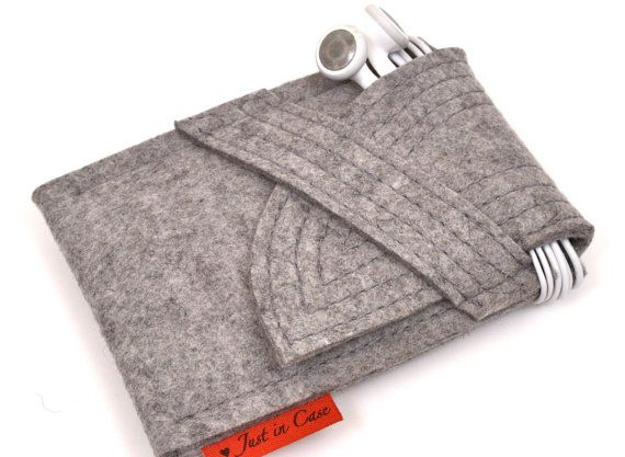 iPhone  iPod Case Wool Felt in Granite by PinsnNeedlesCases, $18.00