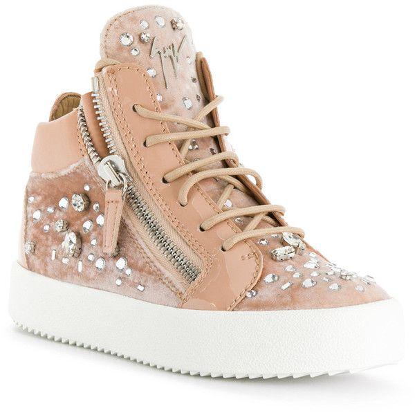 Giuseppe Zanotti Design Swarovski embellished Kriss sneakers ($495) ❤ liked on Polyvore featuring shoes, sneakers, embellished shoes, giuseppe zanotti trainers, flat sneakers, flat footwear and round toe sneakers