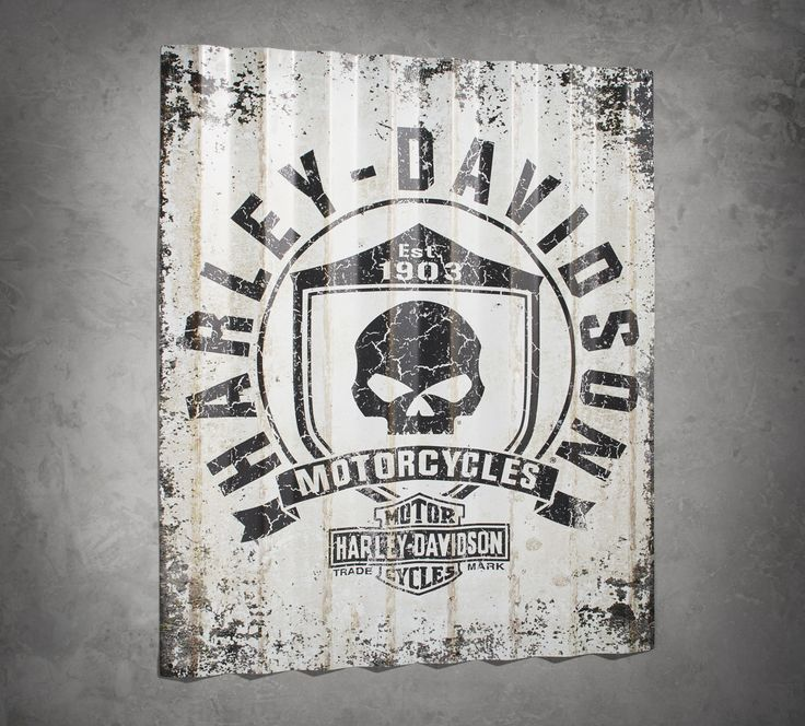 All the attitude but no throttle required.   Harley-Davidson Skull Shield Corrugated Sign