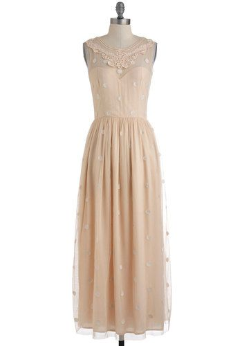 Ethereal Girl Dress. All eyes will alight on you when you enter the room draped in this embroidered mesh maxi dress. #gold #prom #modcloth