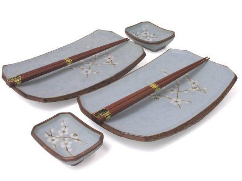 "Cherry Blossom Six Piece Sushi Plate Set by ori. $21.45. This lovely set contains 2 plates- 7.5"" by 5"", 2 sauce dishes -3.5"" by 2.5"" & 2 pairs of chopsticks. Cherry Blossom Sushi Set for Two made in Japan. Beautiful Six Piece Sushi gift set for two. Japanese sakura cherry blossom plate set packed in a gift box"
