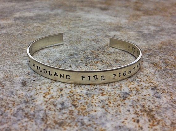 I Love My Wildland Firefighter Custom Sterling Silver Secret Message Cuff-WLFF Wives Custom Bracelet-Forestry Bracelet-Firefighter Cuff