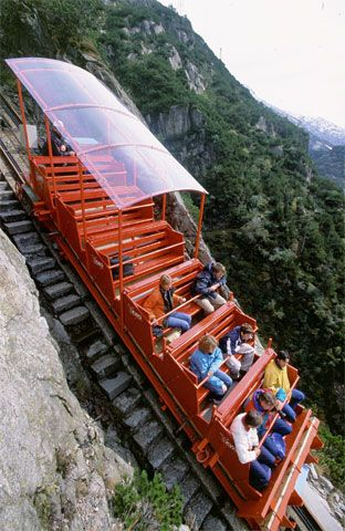 The Gelmerbahn connects Handegg and Gelmer Lake in the Canton of Bern. It's the steepest funicular in Switzerland with a maximum grade of 106%!