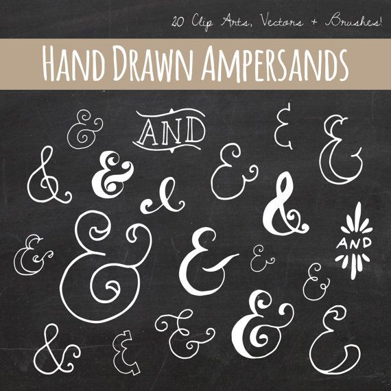 Clip art chalkboard ampersand symbol photoshop brushes Calligraphy and sign