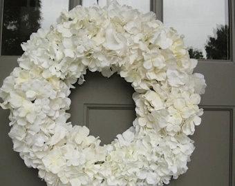White Silk Hydrangea Wreath For Wedding Bridal Shower Gift