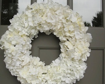 White Silk Hydrangea Wreath For Wedding Bridal Shower Gift