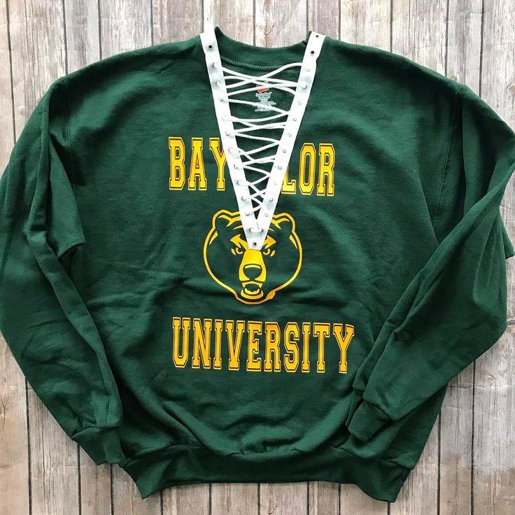 Custom lace up Baylor University Bears sweatshirt