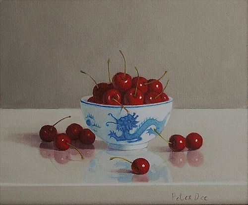 Oriental Bowl with Cherries by Peter Dee | Irish Art, The Doorway Gallery, Irish Art Gallery