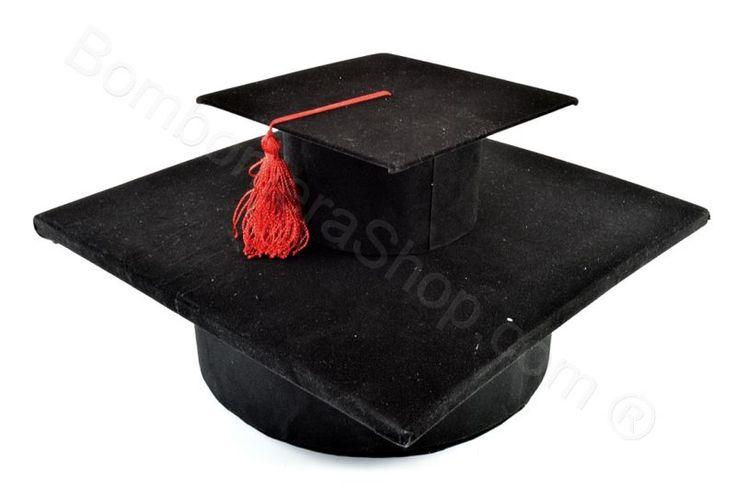 Tocco laurea Grande nero con nappina rossa espositore bomboniere (ET)