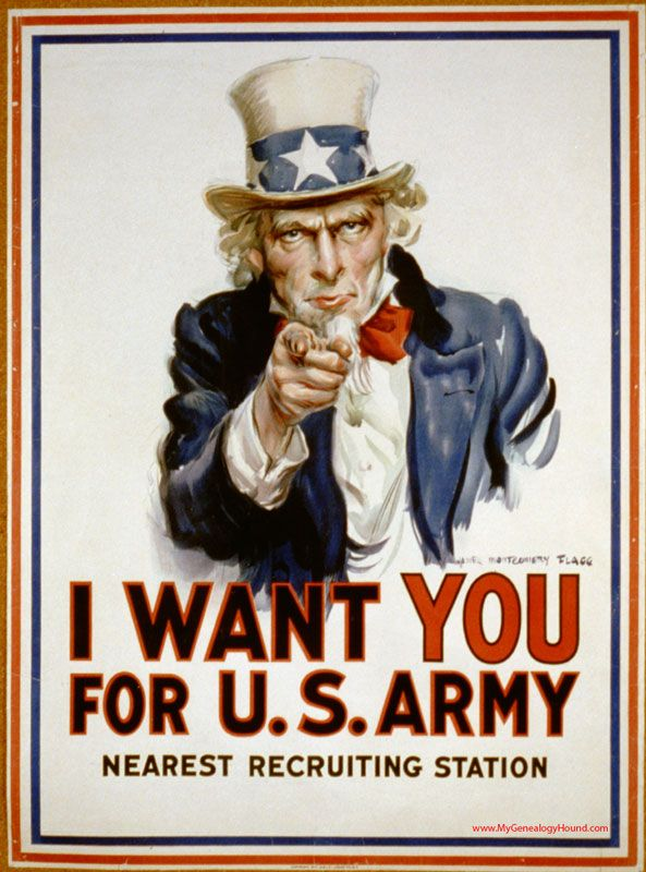 WW I Poster, I Want You For U. S. Army, James Montgomery Flagg