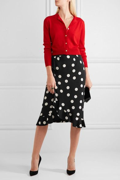 Dolce & Gabbana - Ruffled Polka-dot Stretch-silk Charmeuse Skirt - Black - IT36