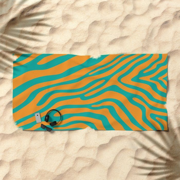 Summer Zebra: Orange Beach Towel by REALITY Studios | Society6