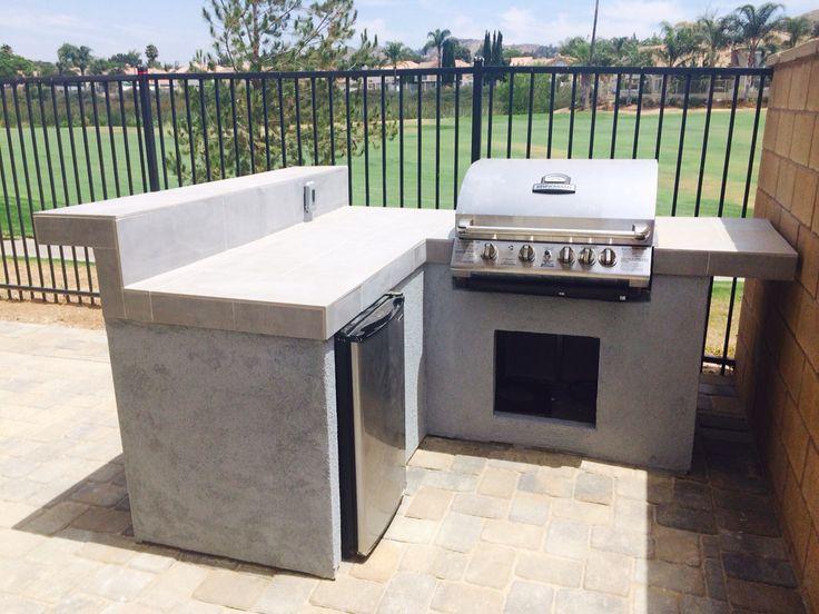 Small bbq island gas grill mini refrigerator yard