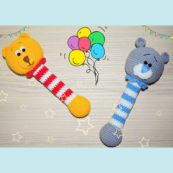 These two nice rattles were made on New Year's Eve. You can make the same Winnie the Pooh or Teddy crochet rattles if follow this free crochet pattern.
