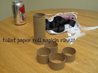 Did you know that a roll of toilet paper is exactly 4 inches? I first tried to cut the roll using kitchen shears...this did not work very well. I then tried our new, fancy, expensive knives and it worked like a charm (don't tell my husband. I thought I was being resourceful...he would think otherwise.) I cut four 1-inch rings. I used plain old white ribbon from the dollar store to cover the rings. I put a dollop of hot glue on the inside and started wrapping.