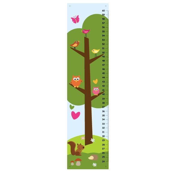 Children Growth Chart - Love and Nature blue green and pink. $25.00, via Etsy.