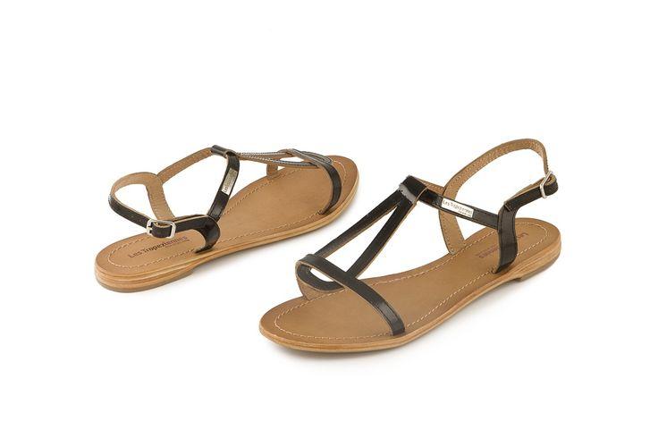 Sandalo Les Tropeziennes Hamess in vera pelle nera. Black leather sandal. www.calzaveste.it