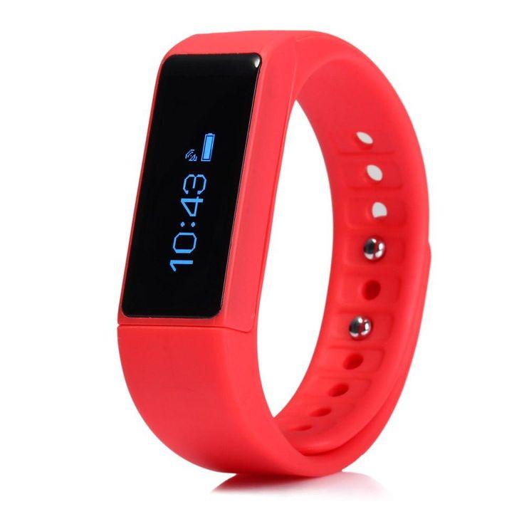 RedWaterproof Touch Screen I5 Plus Smart Bracelet IP67 Bluetooth 4.0 Watch Wristband Sleep Monitoring Sports Tracking Remote Camera