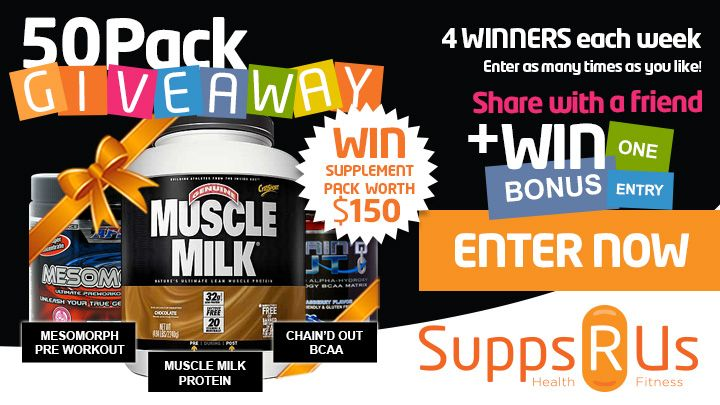You should enter Supps R Us Giveaway - 50 Packs in 12 Weeks. They are giving away 50 Supplement packs valued at $150 over the next 12 weeks - lets both try our luck!