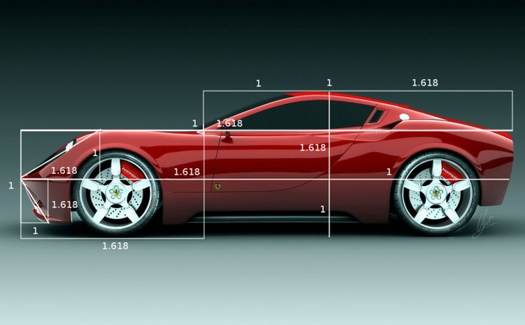 """this is a picture depicting an aesthetically pleasing car. the reason why its pleasing to the eye is because it is made up of the """"golden ratio."""" this ratio occurs in nature all the time including anything from a conch to da Vinci's Mona Lisa."""