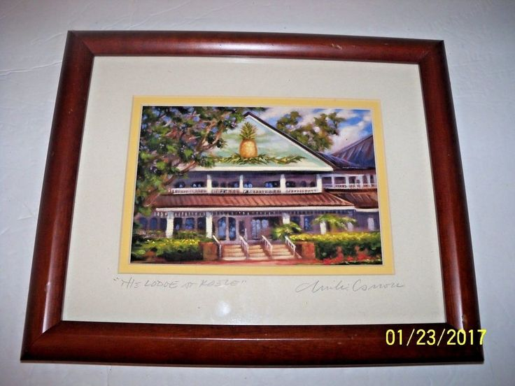 lodge at koele lanai hawaii hotel print hawaiian art framed signed mike carroll