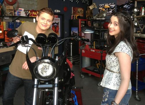 switchedatbirth-onabcfamily:   Switched at Birth creator Lizzy Weiss tweeted this pic of Sean Berdy and Vanessa Marano on set! We wonder why Bay and Emmett are hanging out…