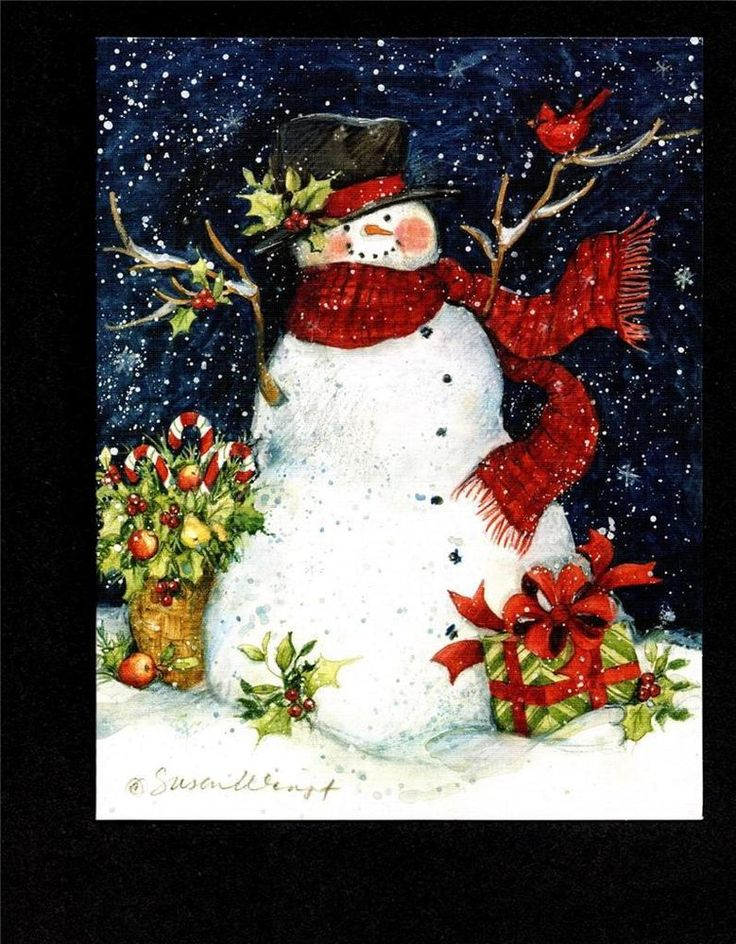 """SNOWMAN LOVERS! """"SNOWMAN SCARF"""" by ARTIST SUSAN WINGET LANG CO CHRISTMAS CARDS 5"""
