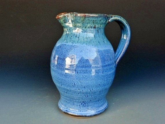 Love this pitcher as a flower vase for a kitchen tableDecor, Blue Pitcher, Ceramics Lemonade, Blue Flowers, Pitcher Blue, Lemonade Pitcher, Pretty Pitcher, Flower Vases, Handmade Vases